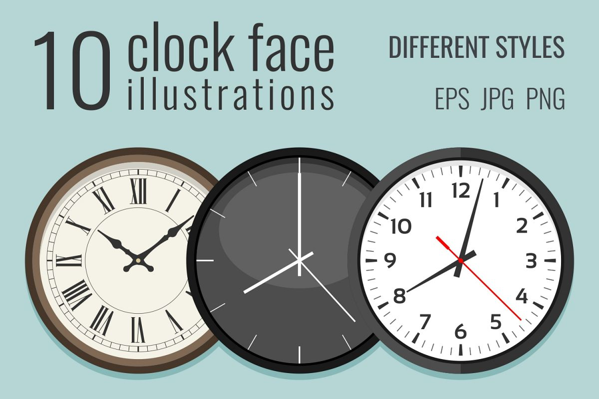 10 clock face illustrations example image 1