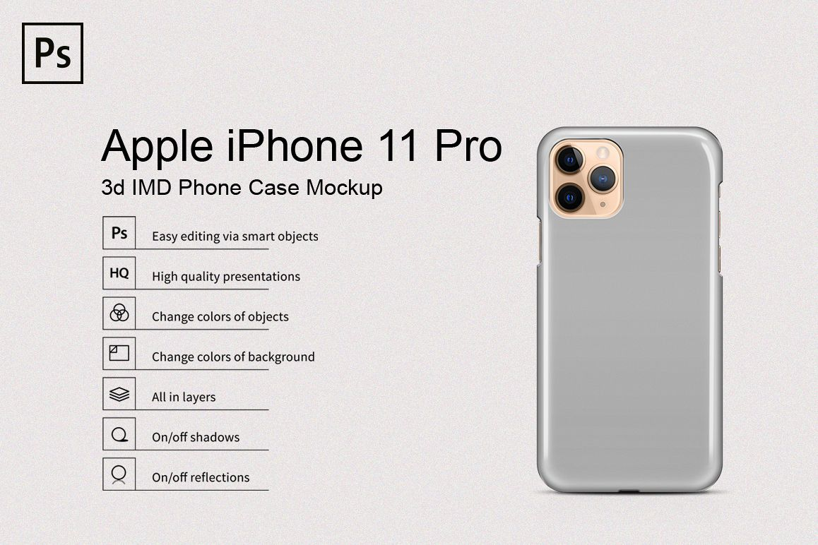 Apple iPhone 11 Pro 3d IMD Phone Case Mockup Back View example image 1