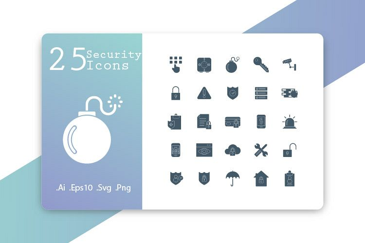 25 Security Icons Solid Design example image 1