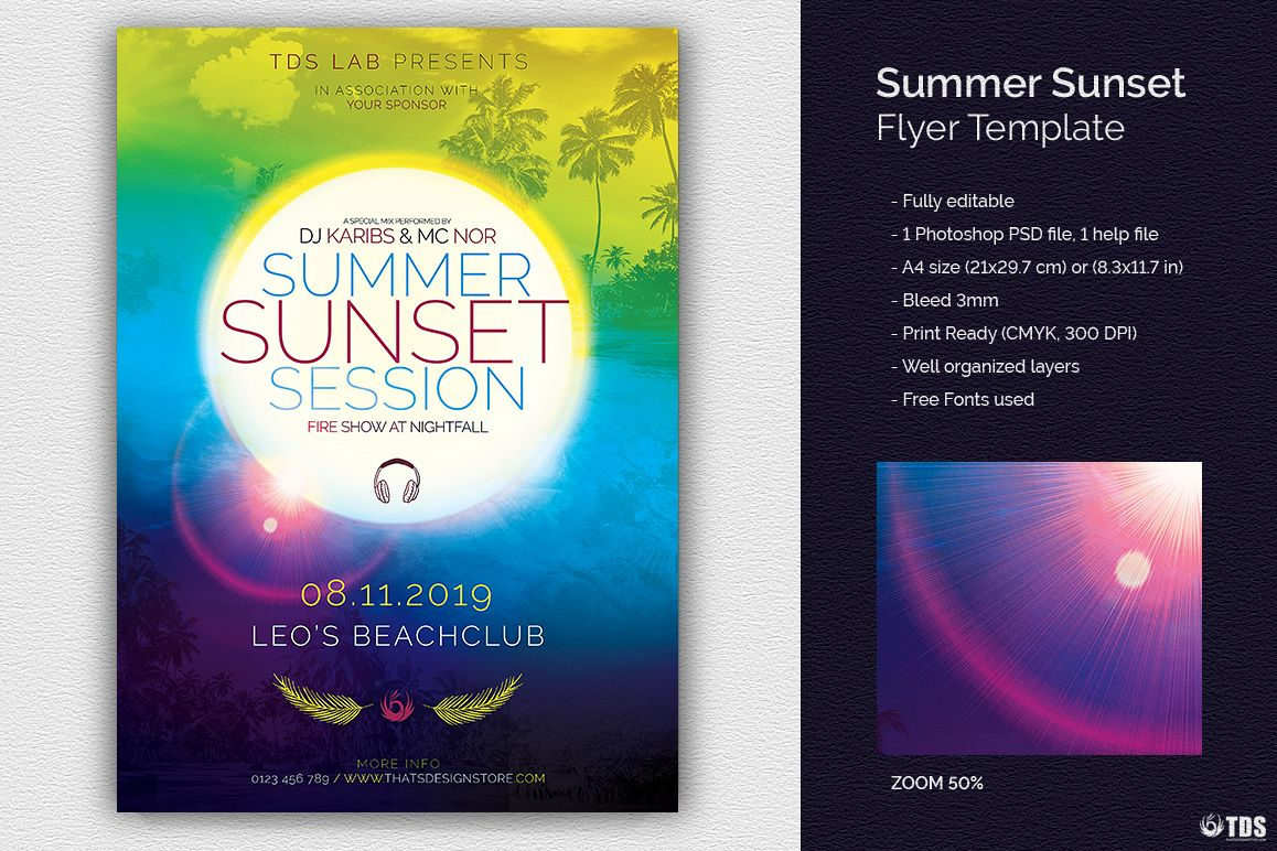 Summer Sunset Flyer Template example image 1