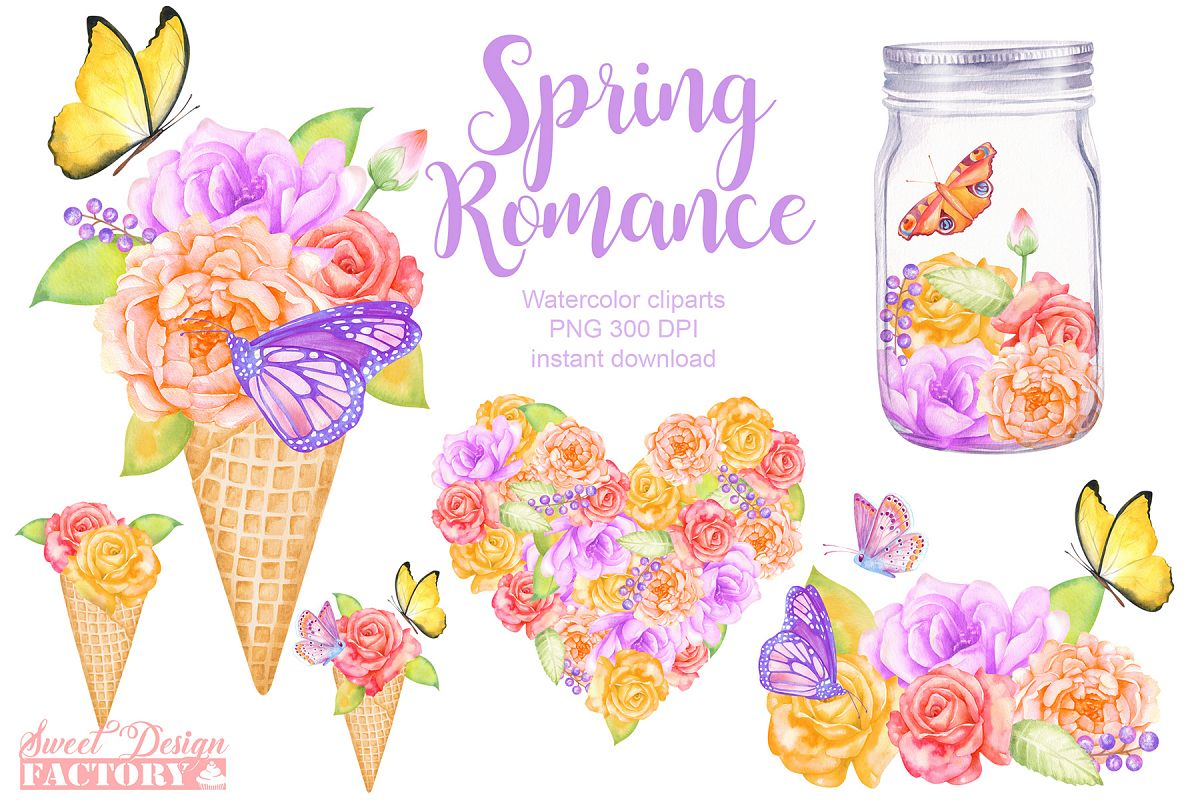 Watercolor floral clipart example image 1