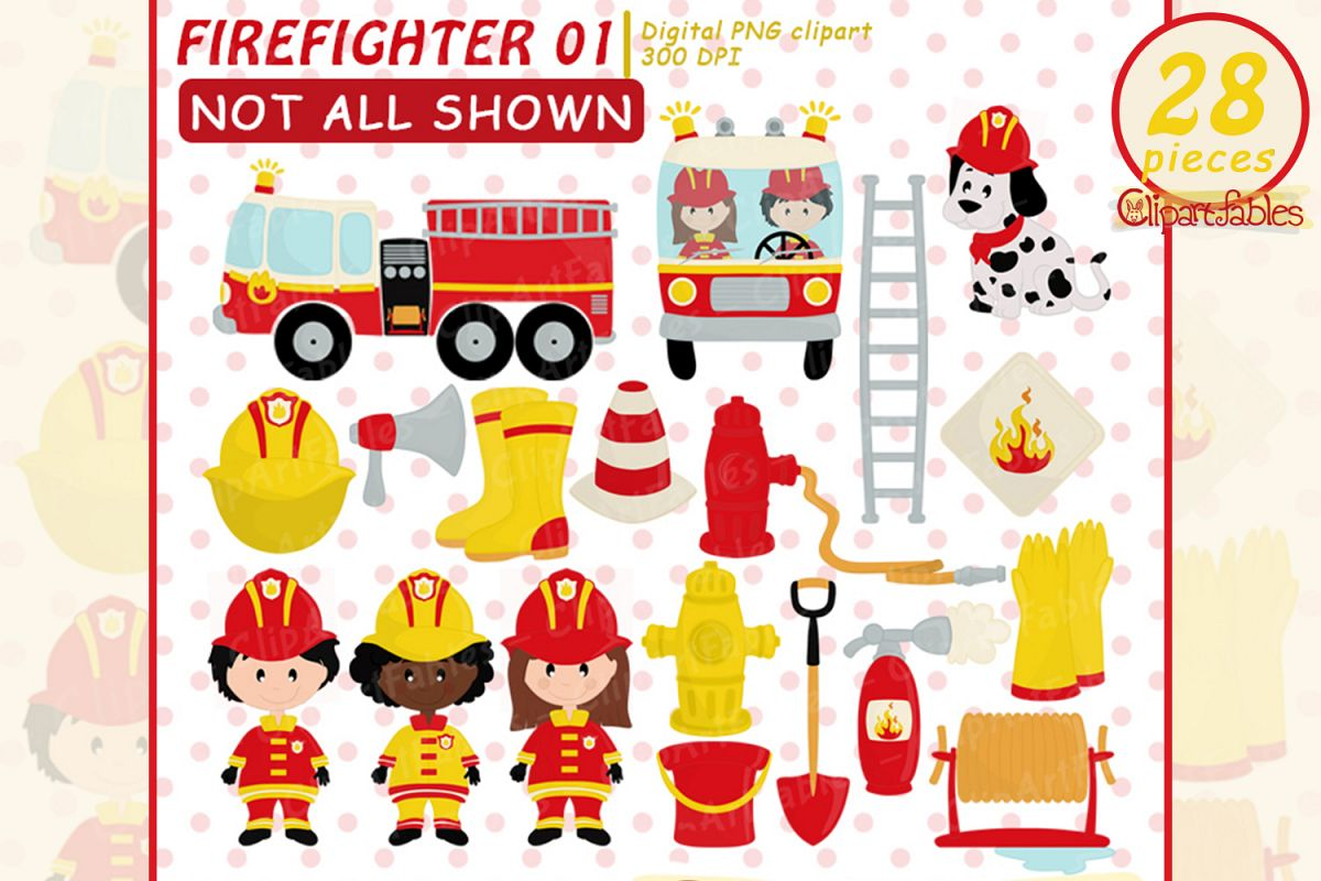 FIREFIGHTER clip art, Fire truck clip art - INSTANT download example image 1
