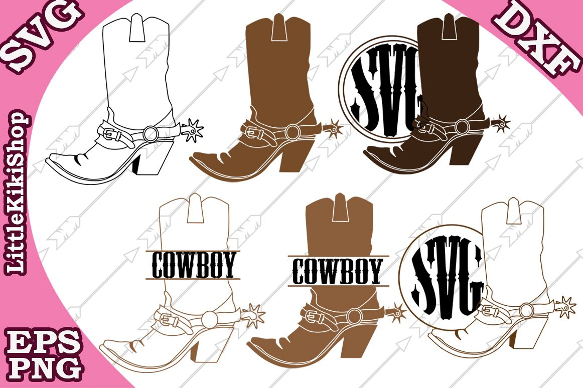 Cowboy Boots Svg,Cowboy Monogram, Western Svg,Boot Monogram example image 1