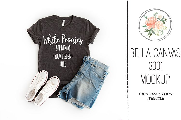 Heather Black Bella Canvas 3001 Shirt Mockup with shorts example image 1
