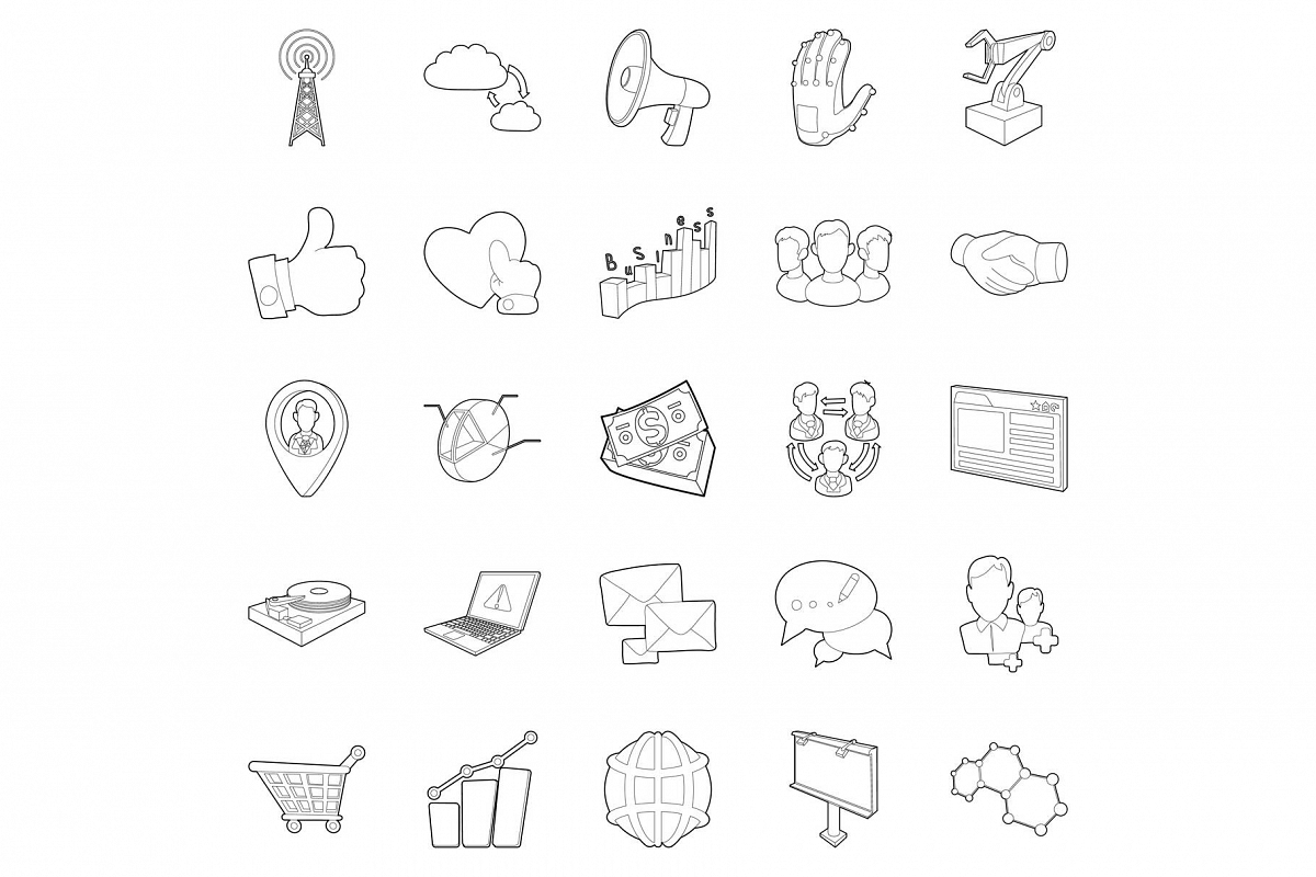 Business scope icons set, outline style example image 1