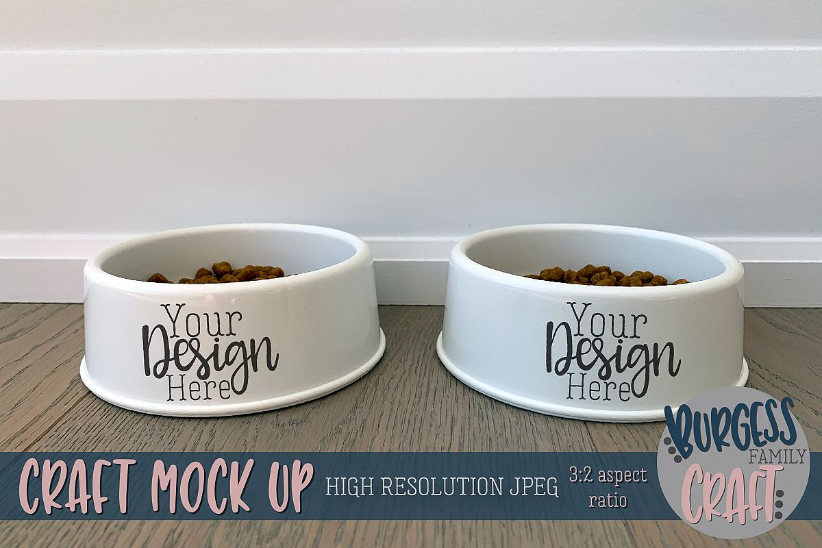 Dog cat dishes craft mock up |High Resolution JPEG example image 1