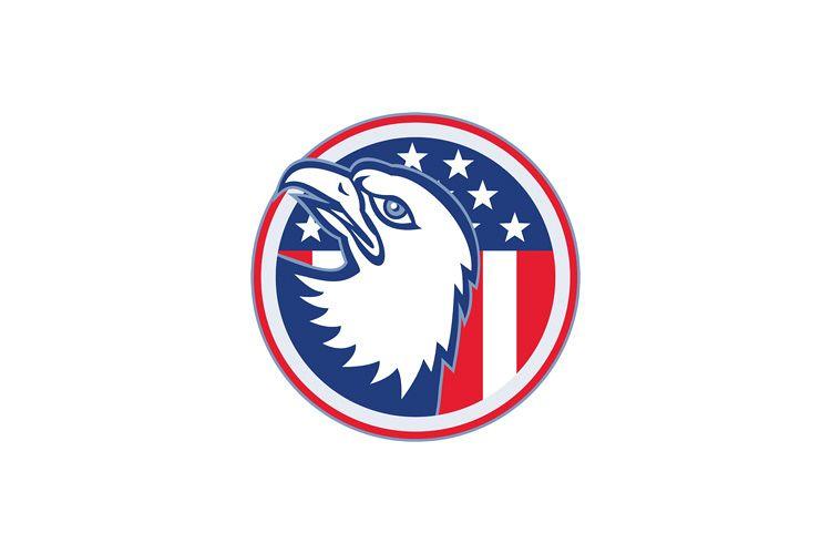 eagle head american stars stripes flag example image 1