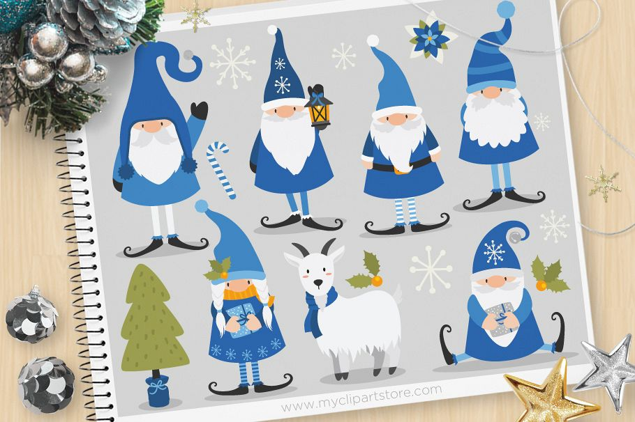 Scandinavian Winter Gnomes Clipart - Vector Clip Art & SVG example image 1