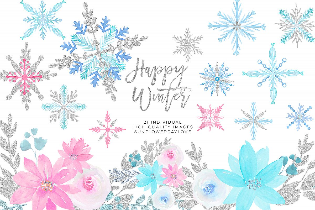 Winter onederland clipart, winter snowflakes clipart example image 1