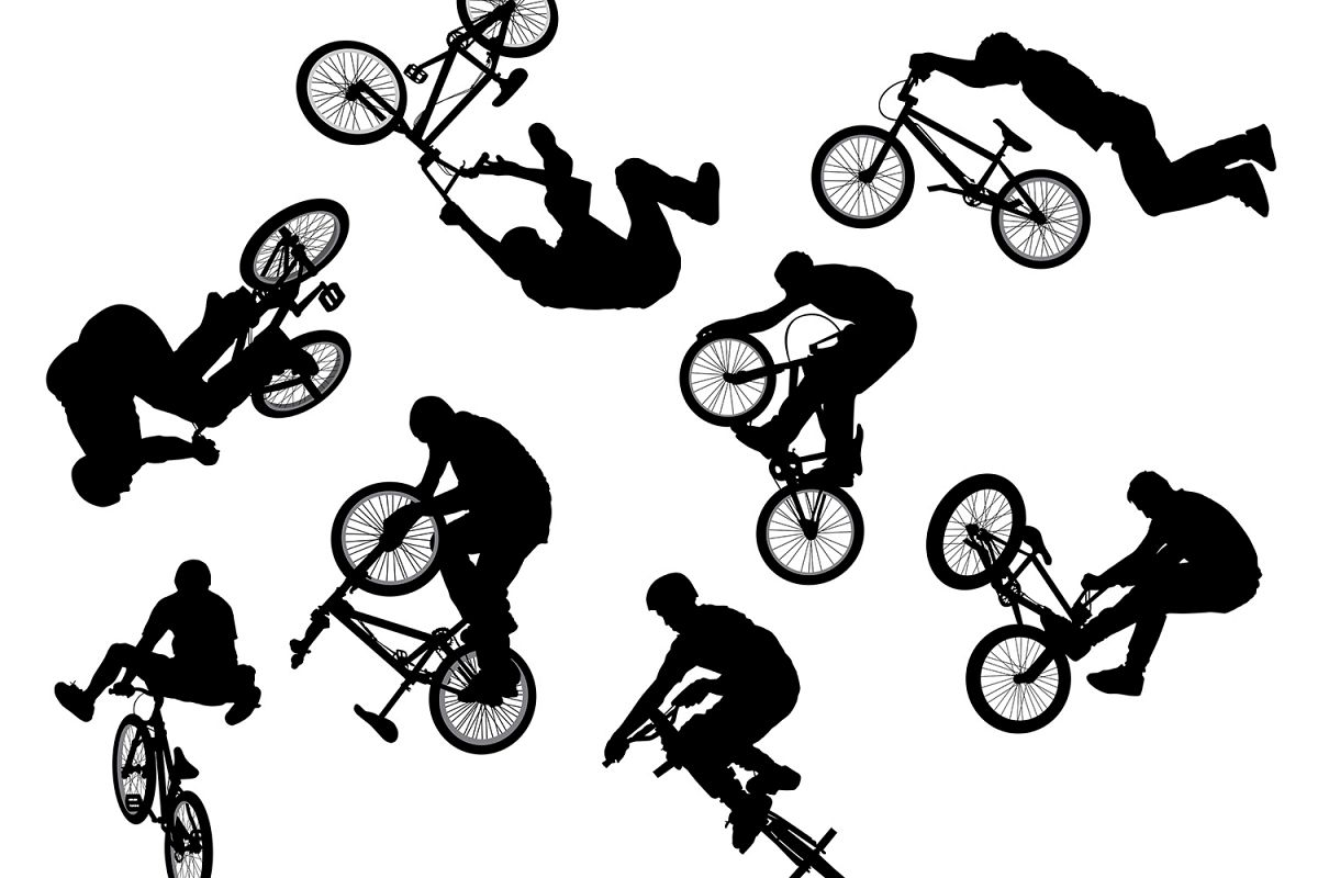 BMX Cyclist Silhouette Vector Set example image 1