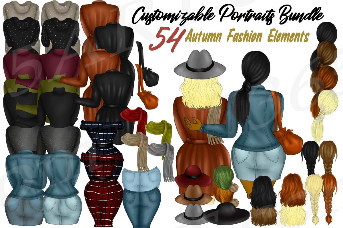 Custom Clipart DIY Customizable Autumn Fall Fashion Builder example image 1