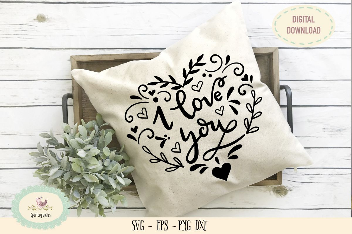 I love you flower heart SVG hand lettered example image 1