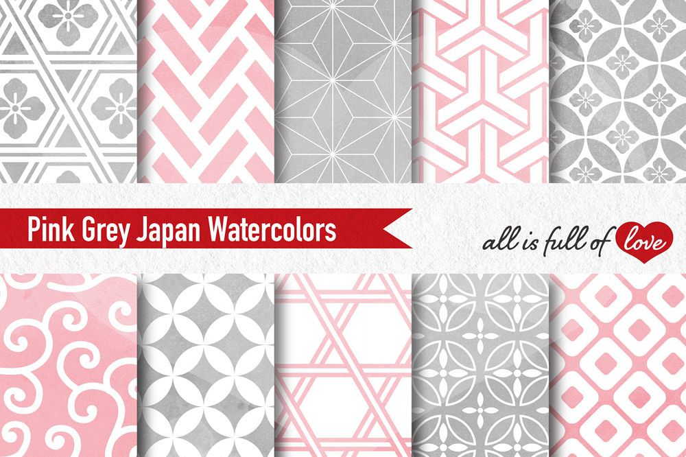 Grey And Pink Digital Paper Oriental Watercolor Background Patterns Awesome Pink Patterns