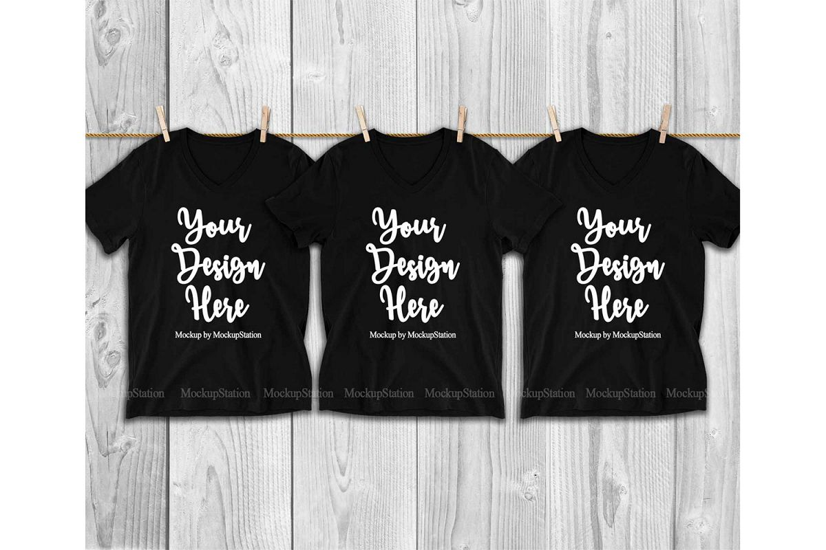 3 Black V-Neck Shirts Mockup, Matching Group Tee Mock Up example image 1