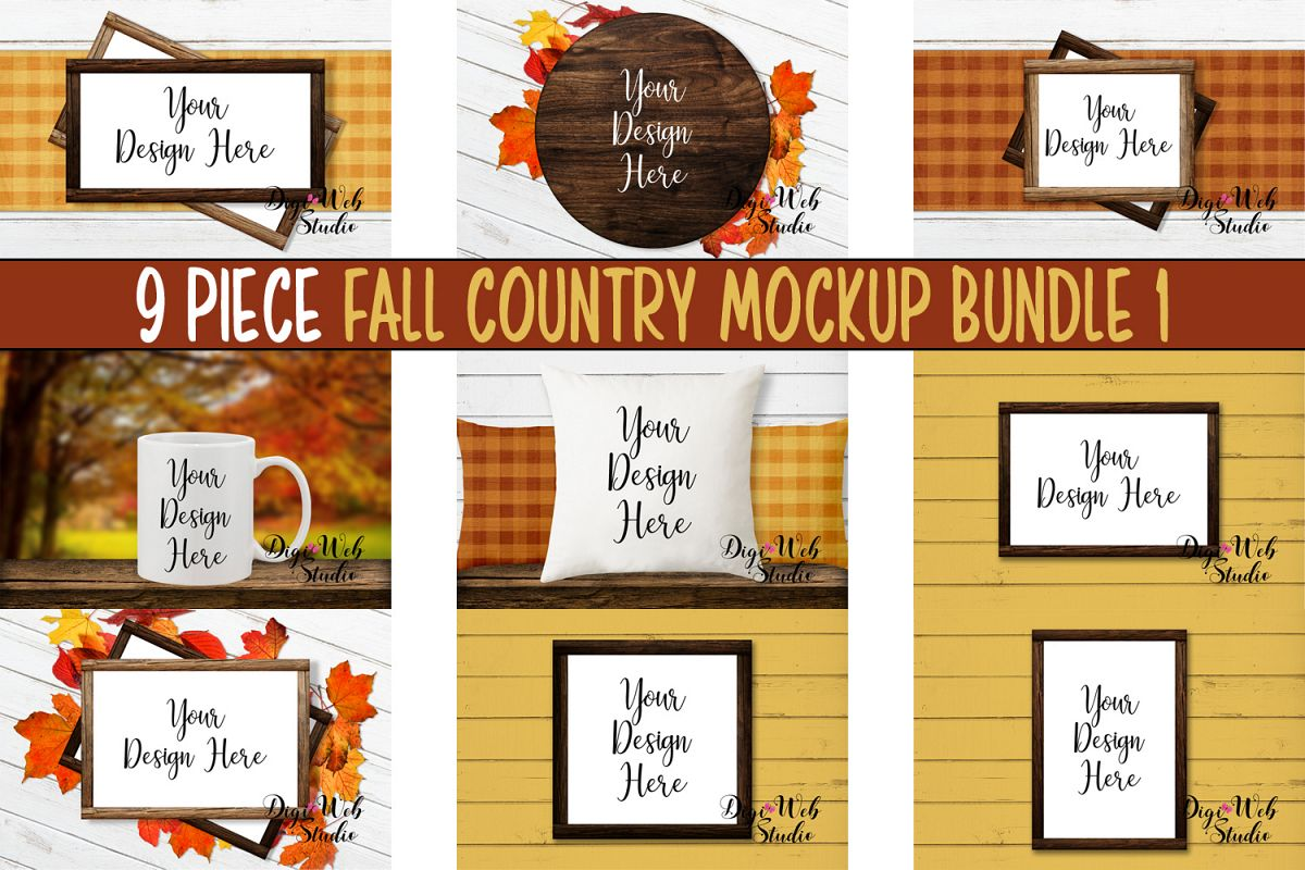 Mockup Bundle - Fall Country Wood Signs, Pillow & Coffee Cup example image 1