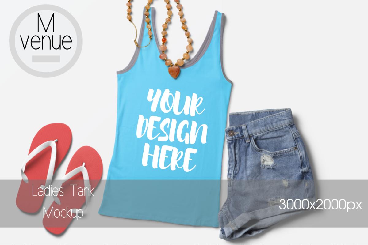 Summer Style Ladies Tank Mockup|3000x2000PX example image 1