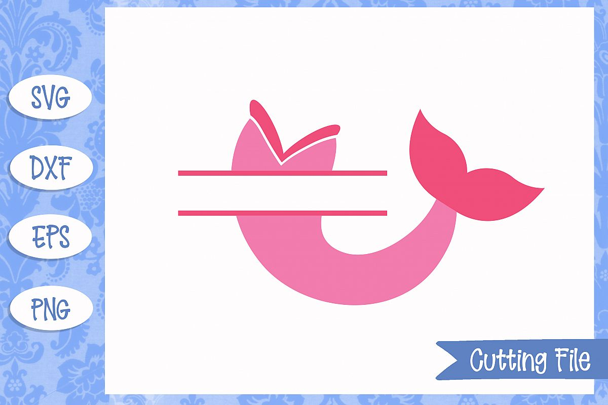 Mermaid split monogram, Mermaid SVG File example image 1