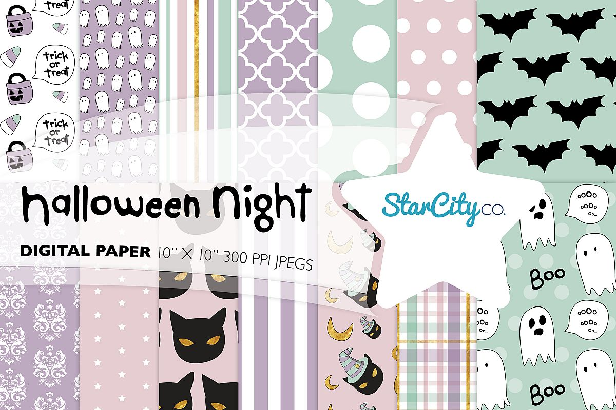 Hand Drawn Halloween Digital Paper in Pastel Colors example image 1