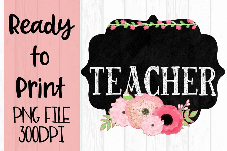Blank - Add a Name - Teacher Chalkboard and Flowers Ready to example image 1