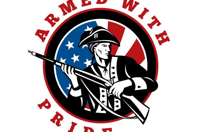 American revolutionary soldier with rifle flag example image 1