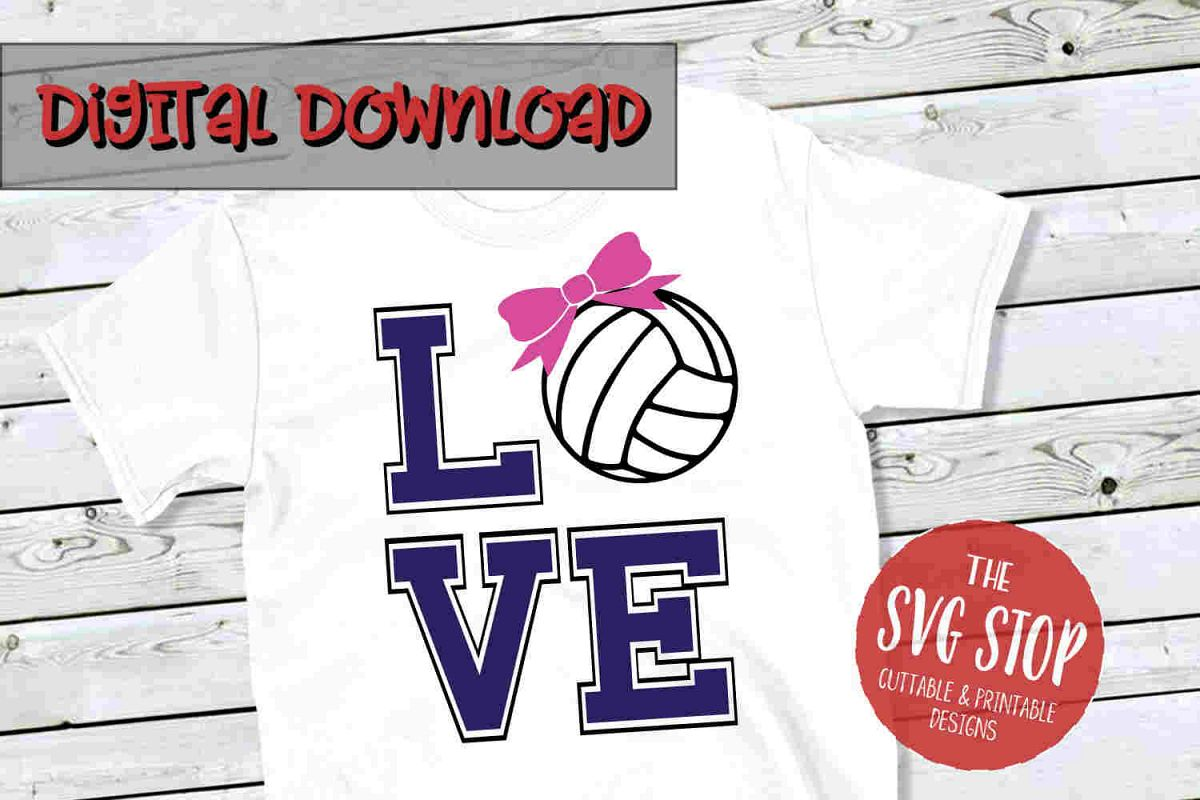 Love Volleyball SVG PNG DXF example image 1