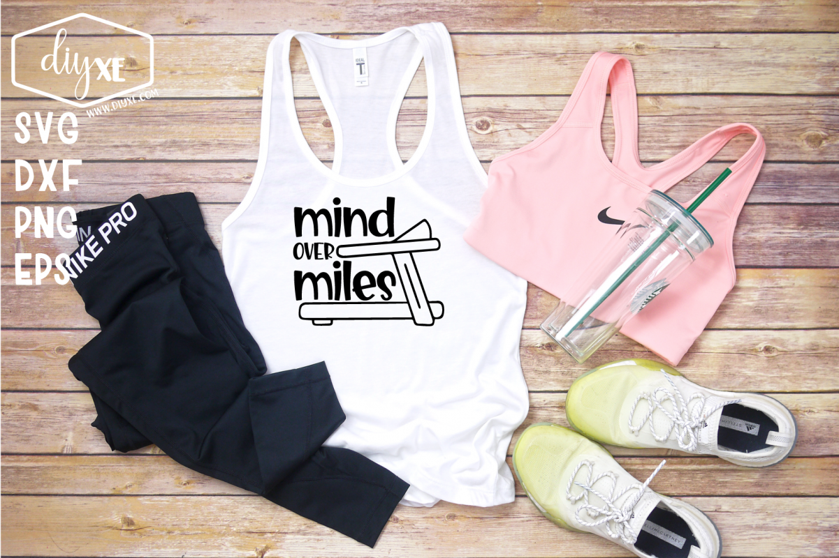 Mind Over Miles - A Fitness SVG Cut File example image 1