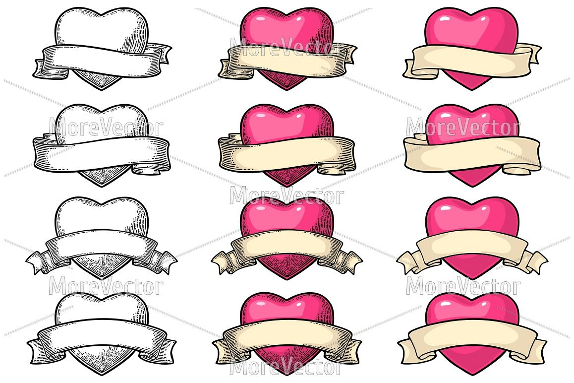 Heart with ribbon engraving example image 1
