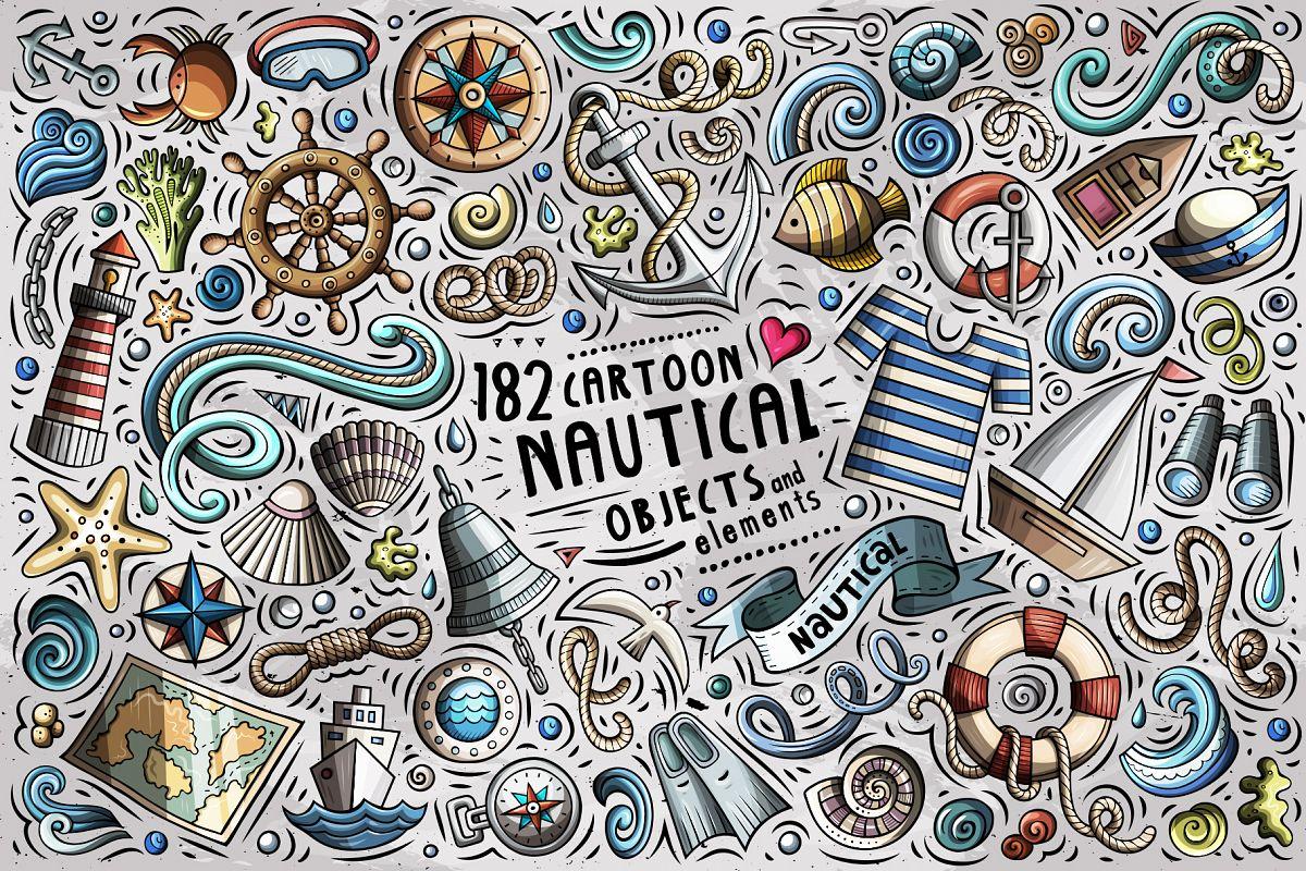 Nautical Cartoon Objects Set example image 1