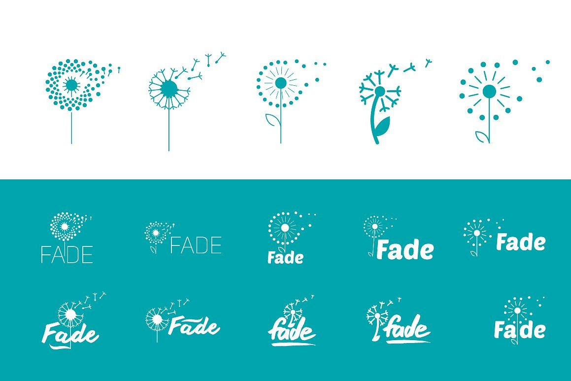 Flat set of fly dandelion symbols example image 1