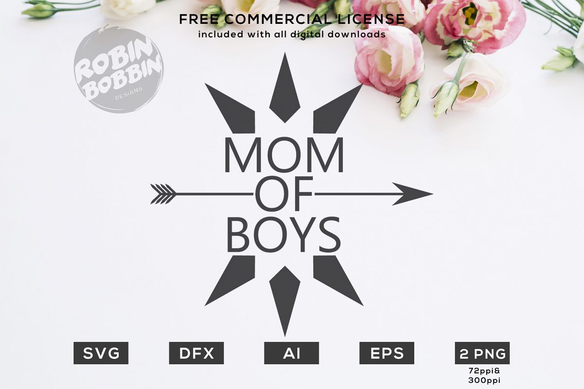 Mom Of Boys Design for T-Shirt, Hoodies, Mugs and more example image 1