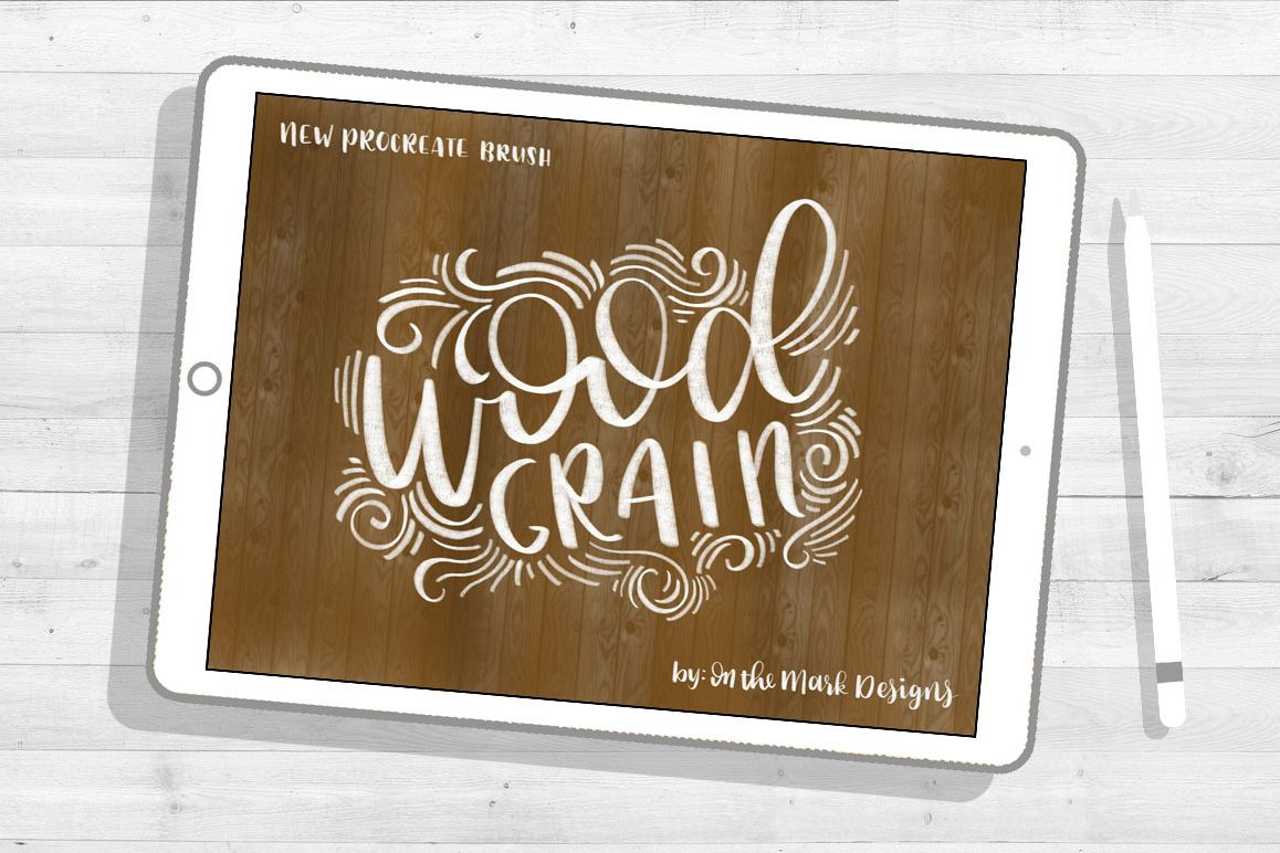 Wood Grain Lettering Procreate Brush example image 1