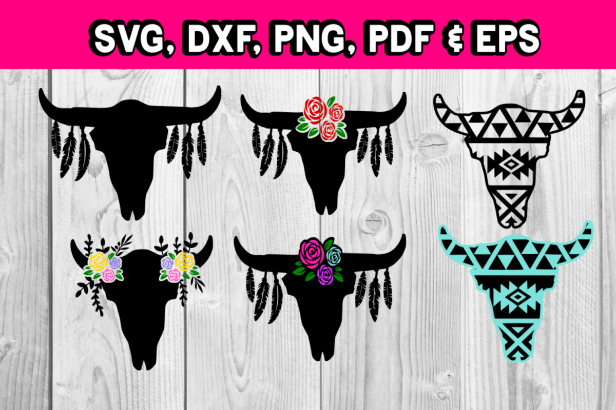 cow skull with decorations - Floral cow skull - country farm example image 1