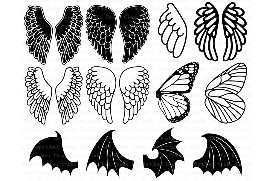 Angel Wings SVG Bat Monarch Butterfly Wing Files For Silhouette Cameo And