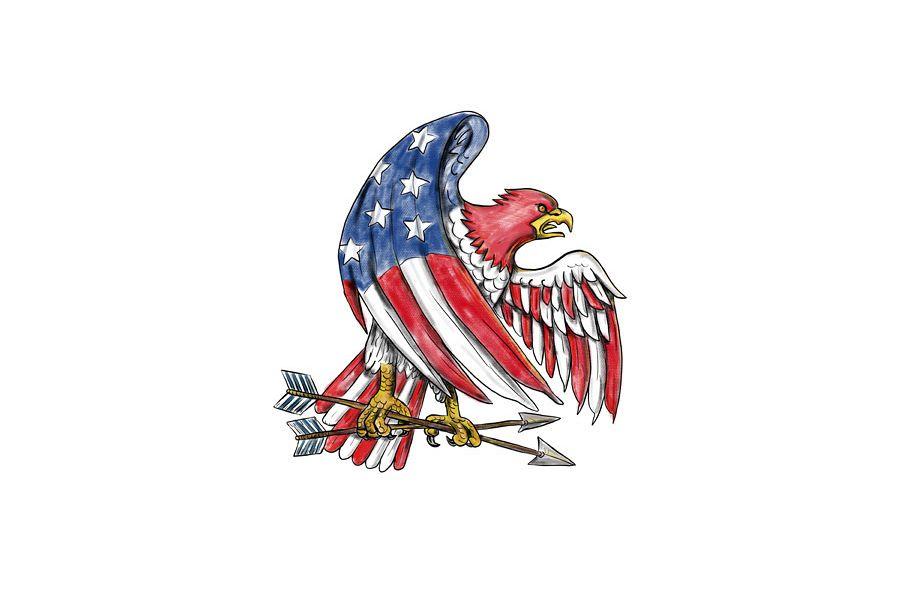American Eagle Stars and Stripes Flag Tattoo example image 1