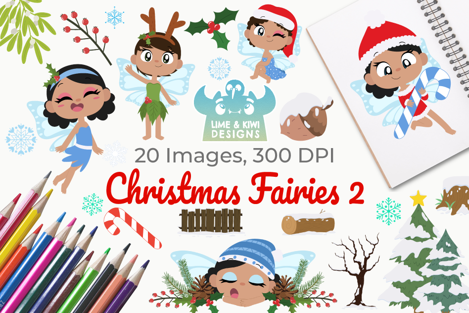 Christmas Fairies 2 Clipart, Instant Download Vector Art example image 1