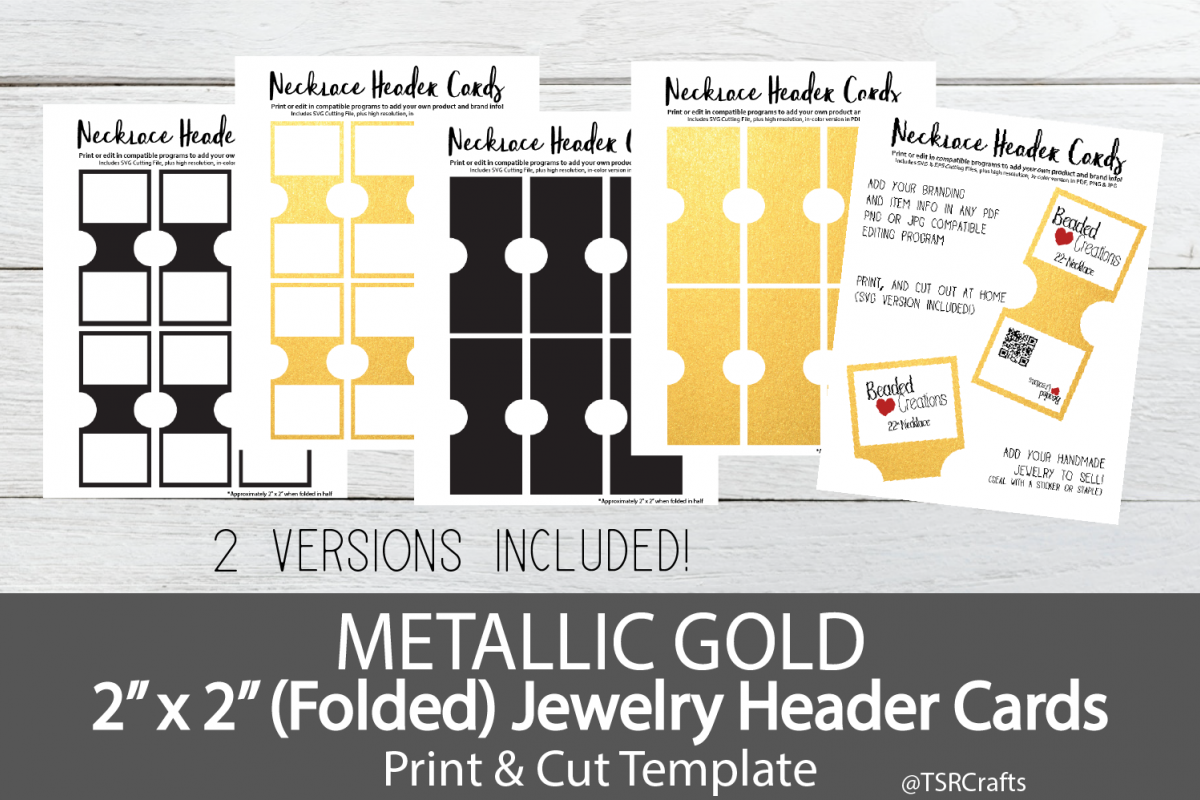Jewelry Header Cards for Necklace - Metallic Gold example image 1