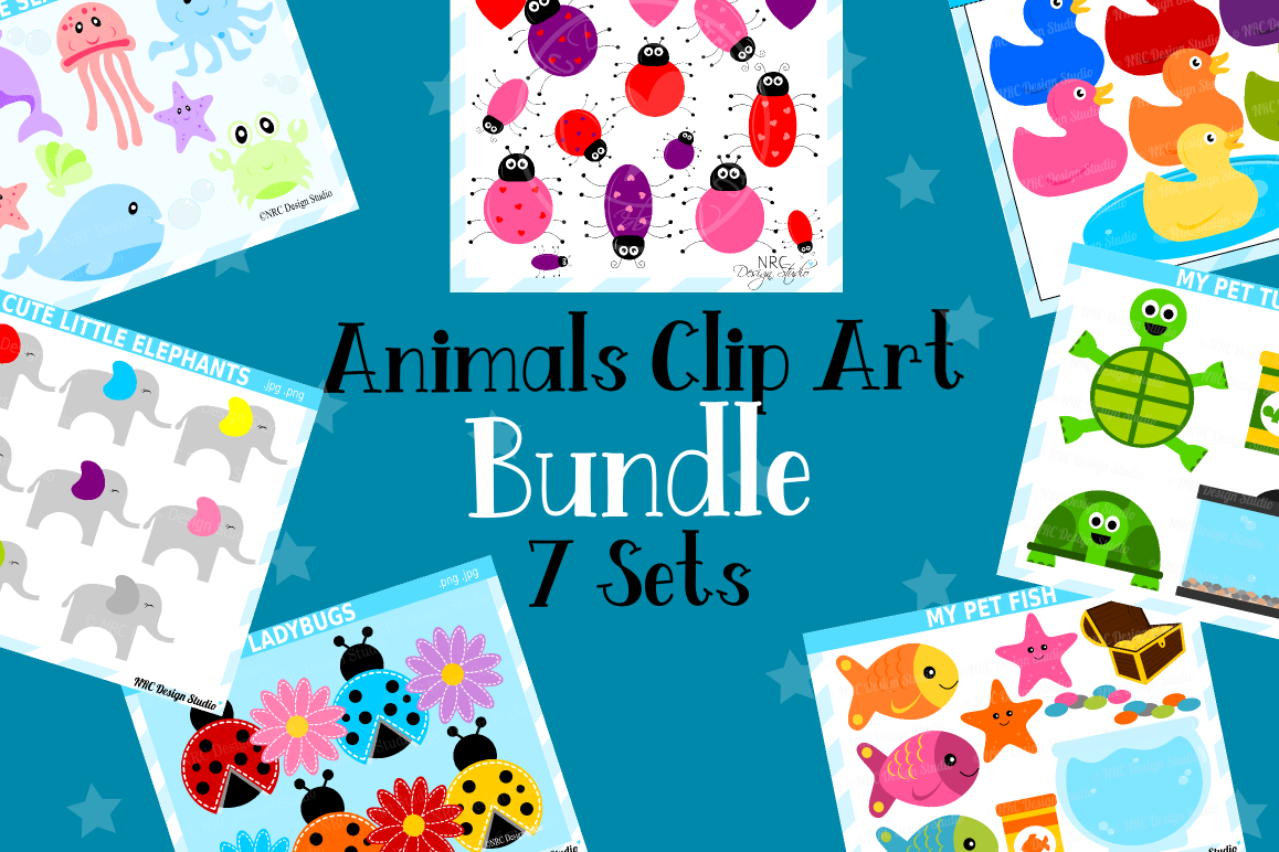 Animals Clipart Graphics Bundle, Illustrations, Clipart example image 1