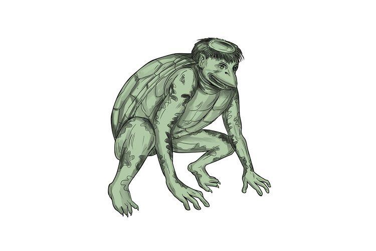 Kappa Monster Crouching Tattoo example image 1