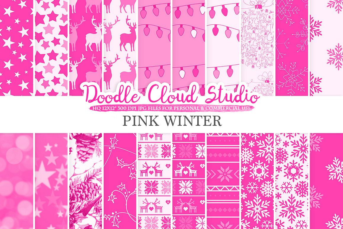 Pink Winter digital paper, Christmas Holiday patterns, Stars Snow deers X-mas backgrounds, Instant Download, for Personal & Commercial Use example image 1