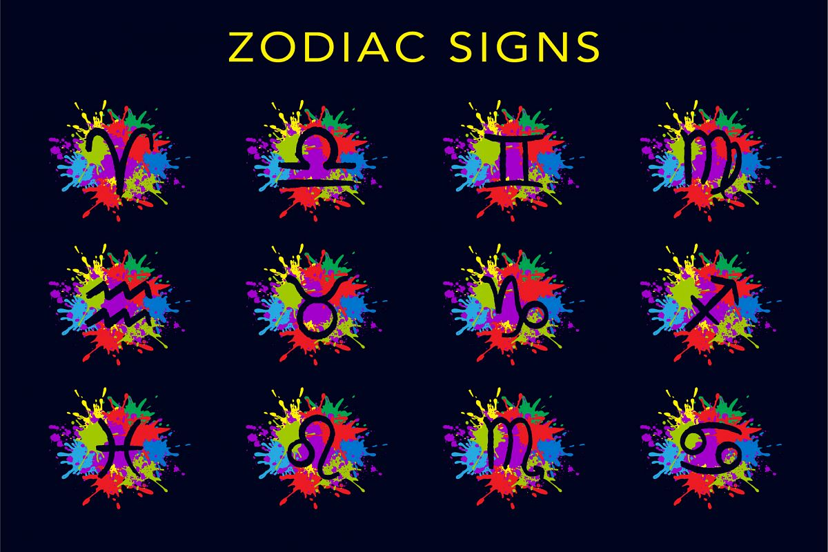Zodiac signs with colorful splashes example image 1