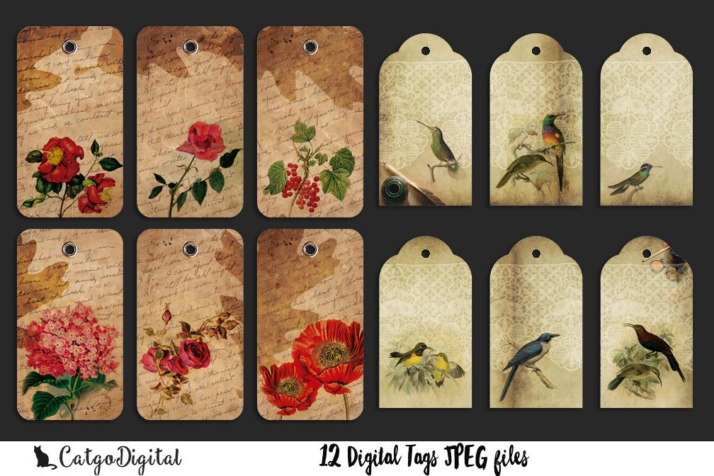 Scrapbooking Digital Tags Flowers and Birds example image 1