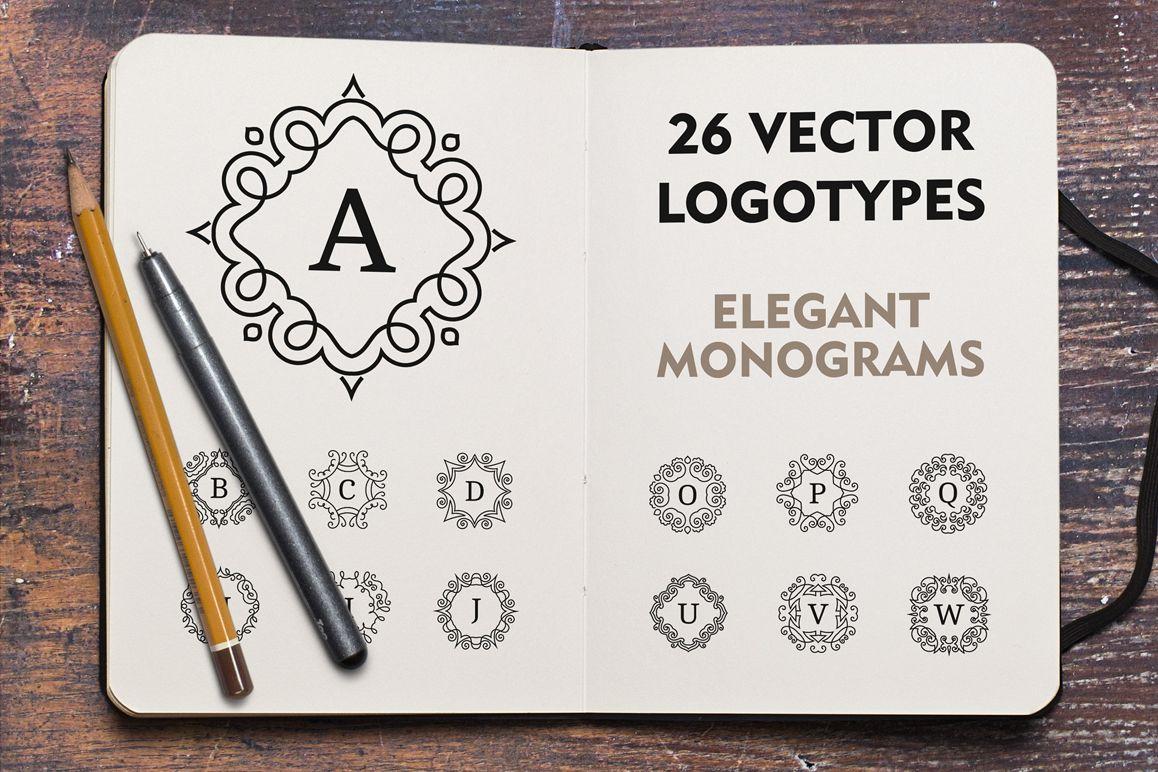 Vector monogram logotypes. Logo set. example image 1