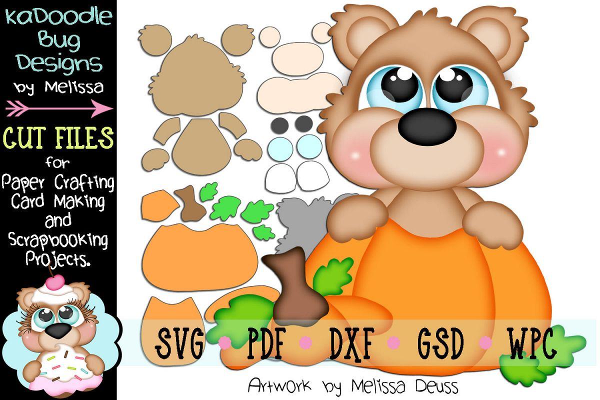 Fall Pumpkin Bear Peeker Cut File - SVG PDF DXF GSD WPC example image 1