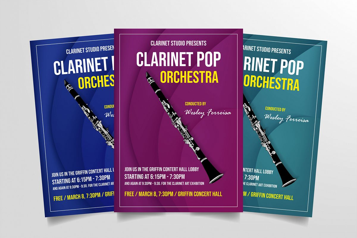 Clarinet Pop Orchestra Flyer Template example image 1