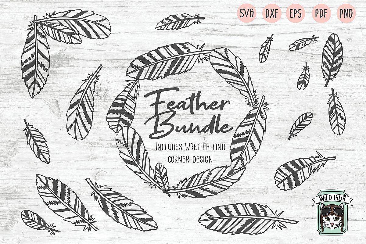Feathers SVG file Bundle, Boho Feather Wreath cut file example image 1