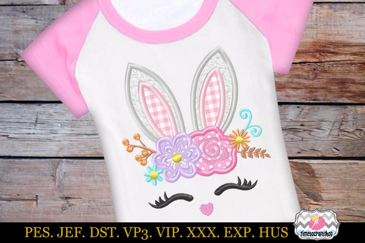 Easter bunny face with Rose and Daisies Applique Design example image 1