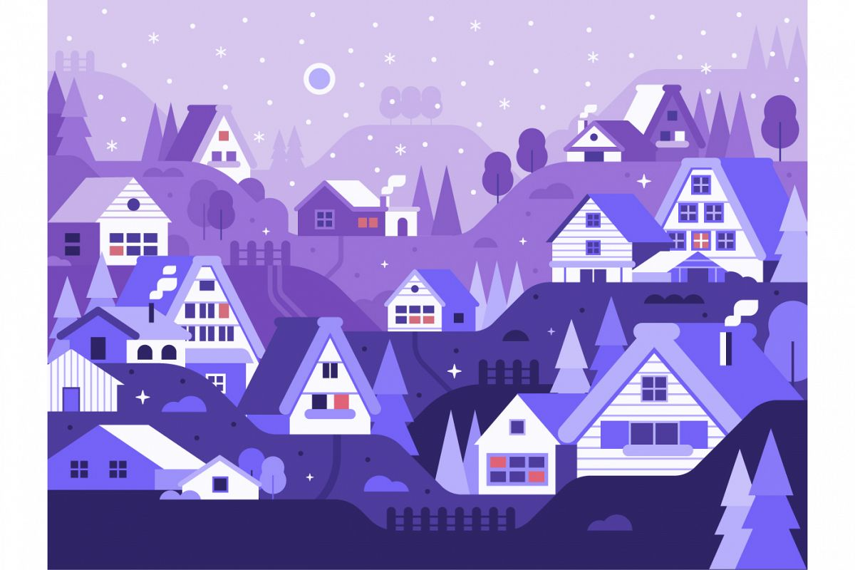 Snow Winter Village Landscape example image 1