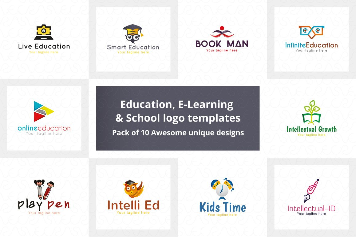 Education E-Learning & School Logo Pack of 10 Awesome Design example image 1