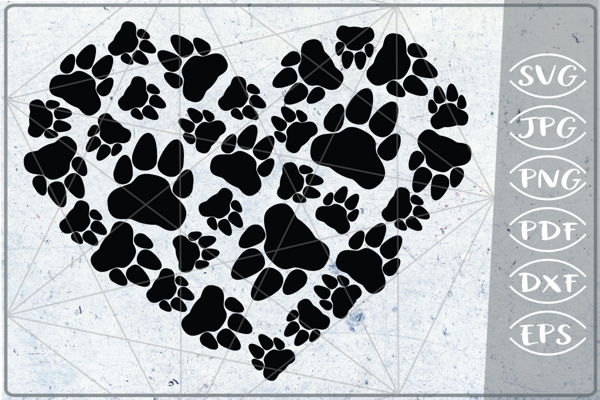 Bear Paws Print Heart SVG Cutting File - Love Paw Heart SVG example image 1