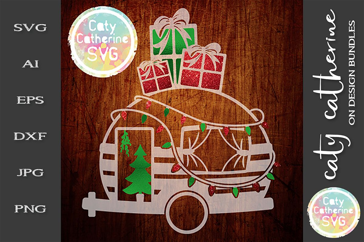 Camper Caravan With Christmas Lights Presents SVG example image 1